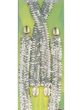 Adult Silver Suspenders Accessory