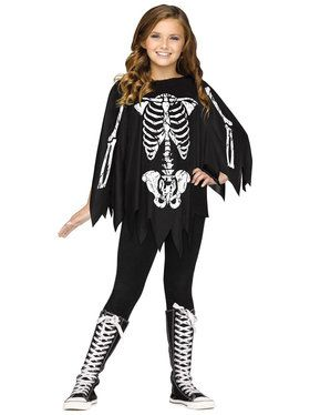 Skeleton Child Poncho Costume