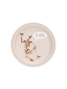 Skeleton No Liver No Problem Dessert Plate (8)