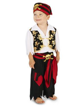Skull Print Vest with Patched Pants Pirate Toddler Costume