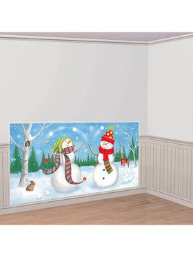 Snowman Scene Setter Wall Decorating Kit