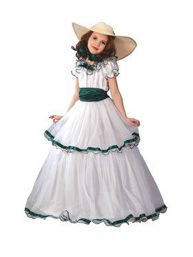 Southern Belle - Emerald And White - Child Costume