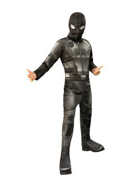 Spider - Man Far From Home: Spider - Man Deluxe (Stealth Black/Gray Suit) Child Costume