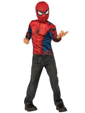 Spider-Man Homecoming 2-in-1 Boys Reversible Spider-Man Costume Top Set with Web Backpack