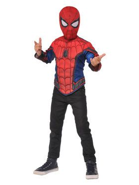 Spider-Man Homecoming Boys Spider-Man Deluxe Muscle Chest Shirt And Mask Set