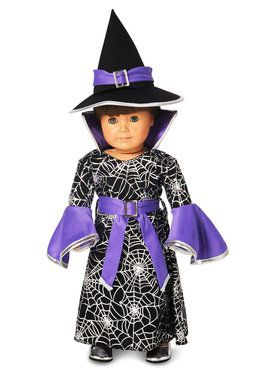 Spider Web Silver Printed Witch 18 Doll Costume