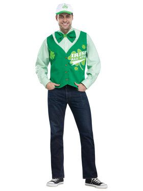 St. Patrick's Day All Star Deluxe Vest Hat and Tie Set One-Size