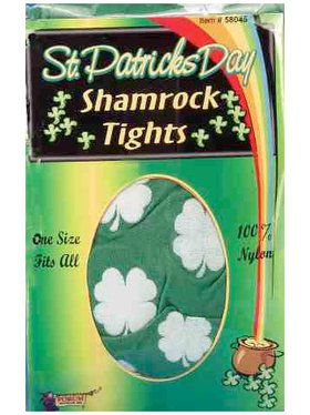 St. Pat's Green and White Shamrock Tights