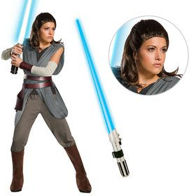Star Wars Episode VIII: The Last Jedi - Super Deluxe Women's Rey Costume With Wig and Lightsaber