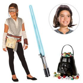 Star Wars Episode VII: The Last Jedi - Rey Girl's Dress With Wig and Lightsaber Bundle
