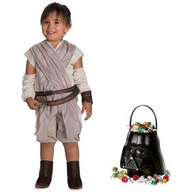 Star Wars Episode VII: The Last Jedi - Toddler Rey Costume and Candy Pail Bundle