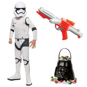 Star Wars Episode VII: The Last Jedi - Child Storm Trooper Costume With Blaster And Candy Pail
