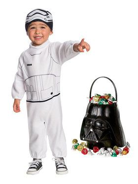 Star Wars Episode VII: The Last Jedi - Toddler Stormtrooper Costume and Candy Pail Bundle