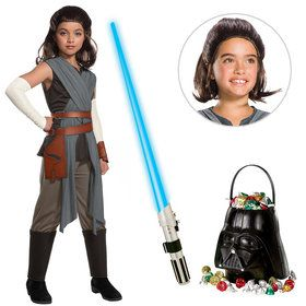 Star Wars Episode VIII: The Last Jedi - Girl's Deluxe Rey Costume With Wig and Lightsaber