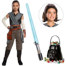 Star Wars Episode VIII: The Last Jedi - Rey Girl's Costume With Wig and Lightsaber Bundle