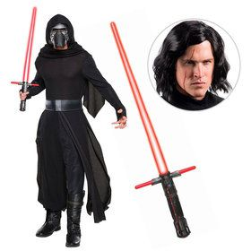 Star Wars Episode VIII: The Last Jedi - Adult Deluxe Kylo Ren Costume With Wig And Lightsaber
