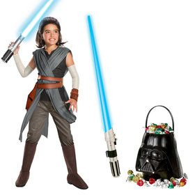 Star Wars Episode VIII: The Last Jedi - Girl's Super Deluxe Rey Costume and Lightsaber Bundle