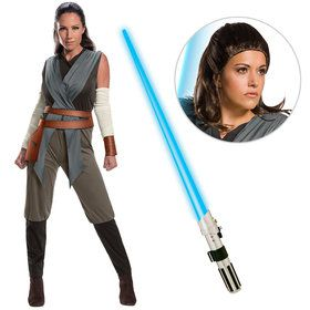 Star Wars Episode VIII: The Last Jedi - Rey Women's Classic Costume With Wig and Lightsaber