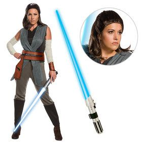 Star Wars Episode VIII: The Last Jedi - Deluxe Women's Rey Costume With Wig And Lightsaber