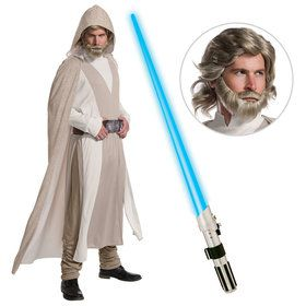 Star Wars Episode VIII: The Last Jedi - Men's Deluxe Luke Skywalker Costume With Wig and Lightsaber