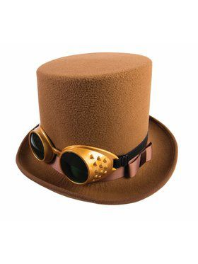 Steampunk Hat w/Goggles - Brown