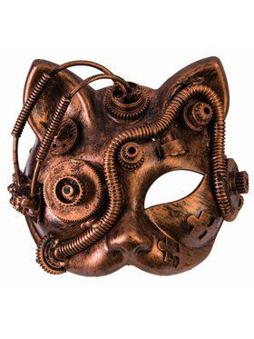 Steampunk Masks - Cat w/Tubes Bronze