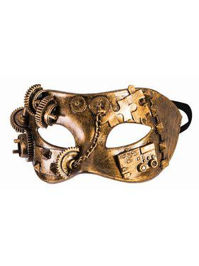 Steampunk Masks - Eye Mask w/Gears And Chain Gold