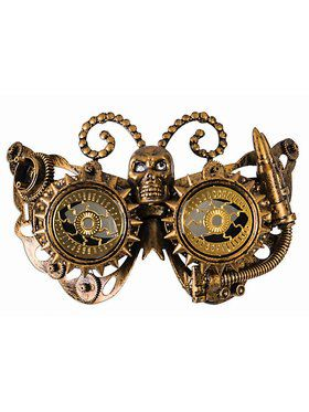 Steampunk Masks - Eye Mask With Skull Gold