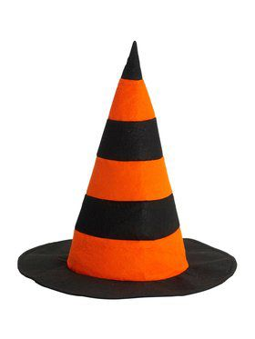 Striped Witch Hat - Orange And Black