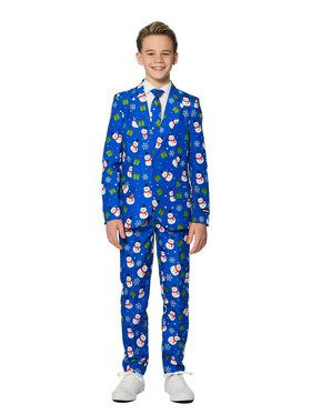 Suitmeister Christmas Blue Snowman Boy's Suit and Tie Set