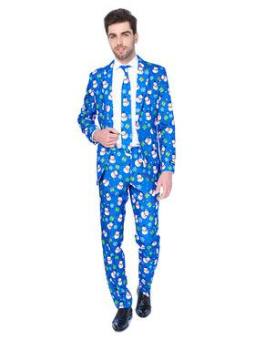 Suitmeister Christmas Blue Snowman Men's Suit and Tie Set
