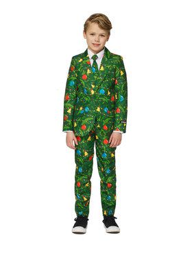 Suitmeister Christmas Green Tree Boy's Suit and Tie Set