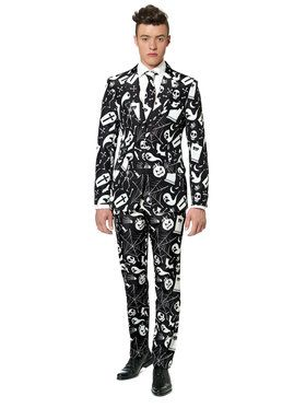 Suitmeister Halloween Black Icons Men's Suit and Tie Set