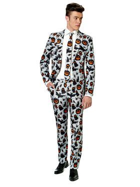 Suitmeister Halloween Grey Icons Men's Suit and Tie Set