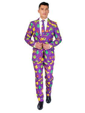Suitmeister Mardi Gras Purple Icons Men's Suit and Tie Set