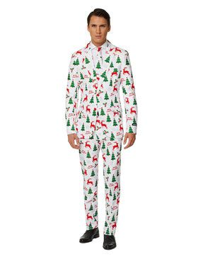 Suitmeister Merry Christmas White Men's Suit and Tie Set