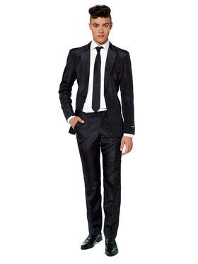Suitmeister Solid Black Men's Suit and Tie Set