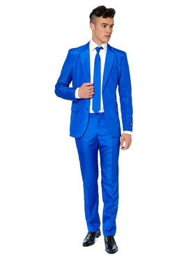 Suitmeister Solid Blue Men's Suit and Tie Set