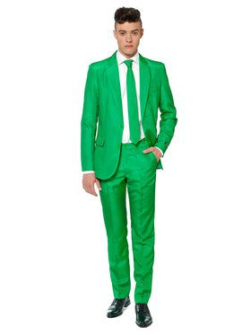 Suitmeister Solid Green Men's Suit and Tie Set