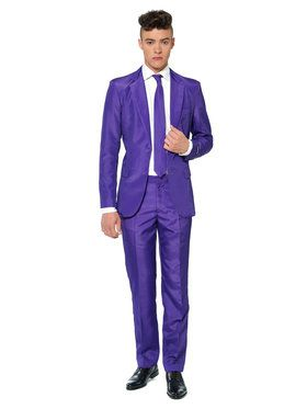 Suitmeister Solid Purple Men's Suit and Tie Set