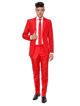 Suitmeister Solid Red Men's Suit and Tie Set