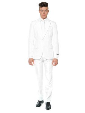 Suitmeister Solid White Men's Suit and Tie Set