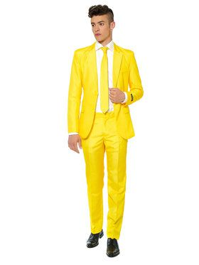 Suitmeister Solid Yellow Men's Suit and Tie Set