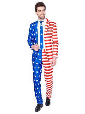 Suitmeister USA Flag Men's Suit and Tie Set