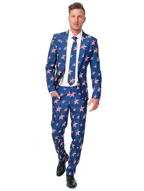 Suitmeister USA Stars & Stripes Men's Suit and Tie Set