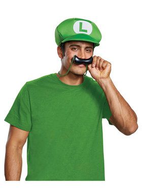 Hat and Moustache Super Mario Bros. Luigi Kit