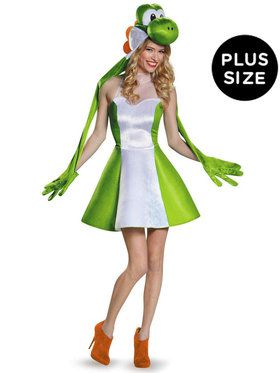 Plus Size Womens Yoshi Super Mario Brothers Costume