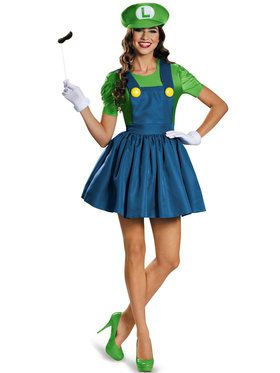 Womens Luigi With Skirt Costume