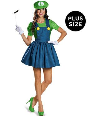 Plus Size Womens Luigi With Skirt Costume