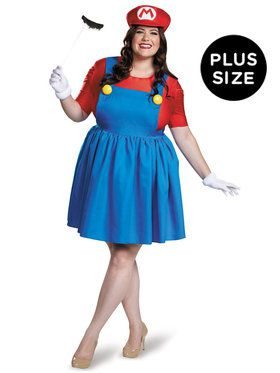 Super Mario: Plus Size Mario Costume w/Skirt For Women